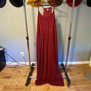 Plus Size Maroon Maxi Dress